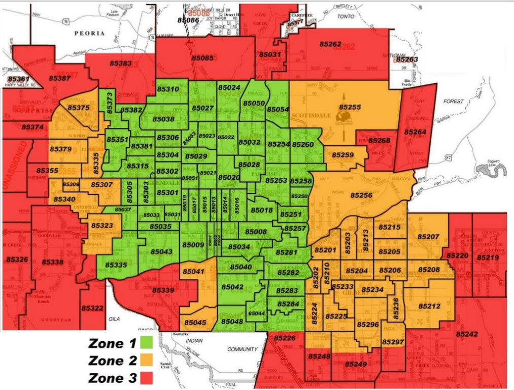 Phoenix Arizona Zip Code Map Updated July 2020
